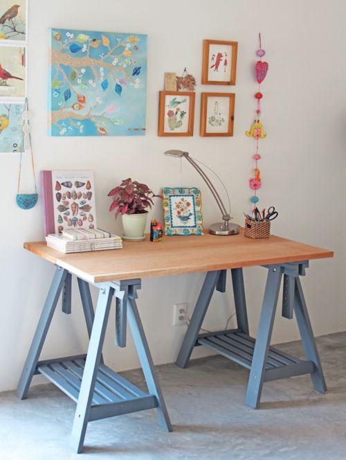 Mesa para estudo dicas preciosas para organizar e - Mesa con caballetes ...